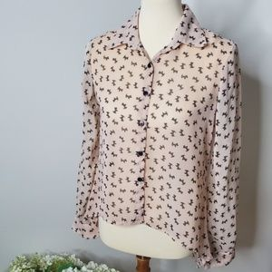 Anthropologie Marisol scottie dog blouse- M